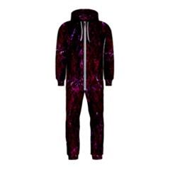 Damask1 Black Marble & Burgundy Marble (r) Hooded Jumpsuit (kids)