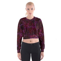 Damask1 Black Marble & Burgundy Marble (r) Cropped Sweatshirt