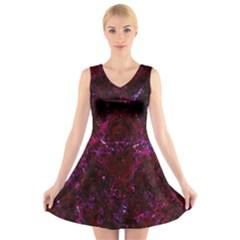 Damask1 Black Marble & Burgundy Marble (r) V Neck Sleeveless Skater Dress