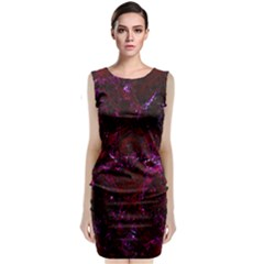 Damask1 Black Marble & Burgundy Marble (r) Classic Sleeveless Midi Dress
