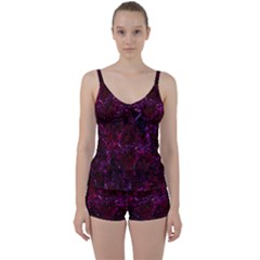 Damask1 Black Marble & Burgundy Marble (r) Tie Front Two Piece Tankini