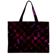 Circles2 Black Marble & Burgundy Marble Zipper Mini Tote Bag