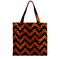 Chevron9 Black Marble & Copper Foil (r) Zipper Grocery Tote Bag
