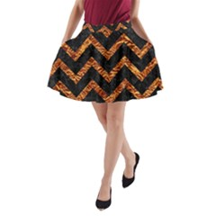 Chevron9 Black Marble & Copper Foil A Line Pocket Skirt
