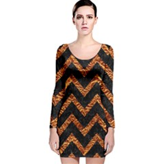 Chevron9 Black Marble & Copper Foil Long Sleeve Velvet Bodycon Dress