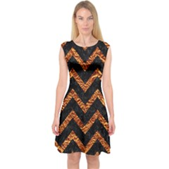 Chevron9 Black Marble & Copper Foil Capsleeve Midi Dress