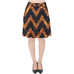 Chevron9 Black Marble & Copper Foil Velvet High Waist Skirt