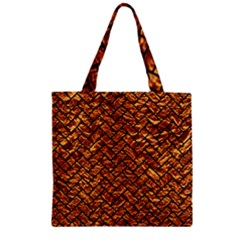 Brick2 Black Marble & Copper Foil (r) Zipper Grocery Tote Bag