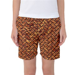 Brick2 Black Marble & Copper Foil (r) Women s Basketball Shorts