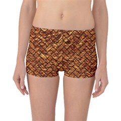 Brick2 Black Marble & Copper Foil (r) Boyleg Bikini Bottoms