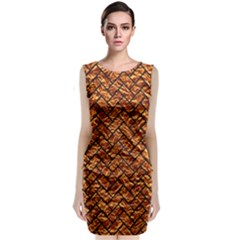 Brick2 Black Marble & Copper Foil (r) Classic Sleeveless Midi Dress