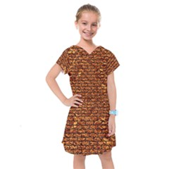 Brick1 Black Marble & Copper Foil (r) Kids  Drop Waist Dress