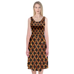 Circle3 Black Marble & Copper Foilper Foil Midi Sleeveless Dress