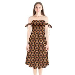 Circle3 Black Marble & Copper Foilper Foil Shoulder Tie Bardot Midi Dress