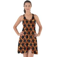 Circle3 Black Marble & Copper Foilper Foil Show Some Back Chiffon Dress