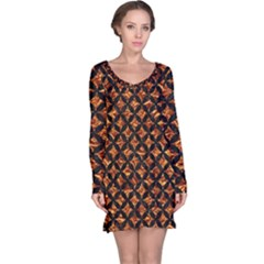 Circles3 Black Marble & Copper Foil (r) Long Sleeve Nightdress