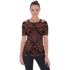 Damask1 Black Marble & Copper Foil Short Sleeve Top