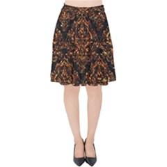 Damask1 Black Marble & Copper Foil Velvet High Waist Skirt