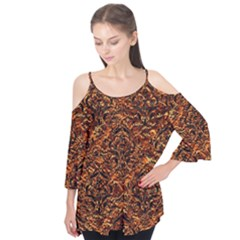 Damask1 Black Marble & Copper Foil (r) Flutter Tees