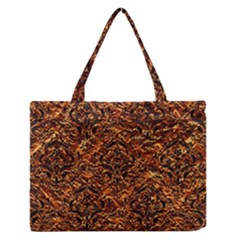 Damask1 Black Marble & Copper Foil (r) Zipper Medium Tote Bag
