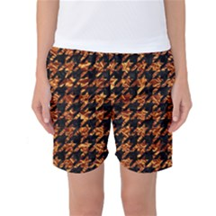 Houndstooth1 Black Marble & Copper Foil Women s Basketball Shorts