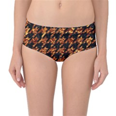 Houndstooth1 Black Marble & Copper Foil Mid Waist Bikini Bottoms