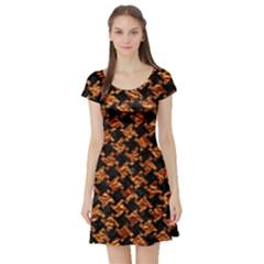 Houndstooth2 Black Marble & Copper Foil Short Sleeve Skater Dress