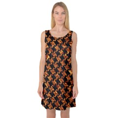 Houndstooth2 Black Marble & Copper Foil Sleeveless Satin Nightdress