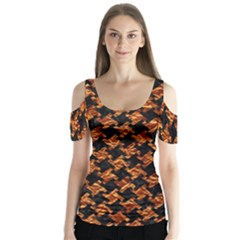 Houndstooth2 Black Marble & Copper Foil Butterfly Sleeve Cutout Tee
