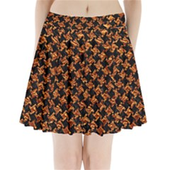 Houndstooth2 Black Marble & Copper Foil Pleated Mini Skirt