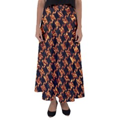 Houndstooth2 Black Marble & Copper Foil Flared Maxi Skirt