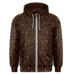 Hexagon1 Black Marble & Copper Foil Men s Zipper Hoodie