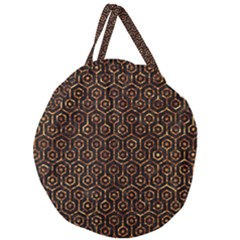 Hexagon1 Black Marble & Copper Foil Giant Round Zipper Tote