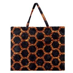 Hexagon2 Black Marble & Copper Foilmarble & Copper Foil Zipper Large Tote Bag