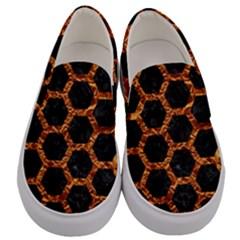 Hexagon2 Black Marble & Copper Foilmarble & Copper Foil Men s Canvas Slip Ons