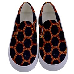 Hexagon2 Black Marble & Copper Foilmarble & Copper Foil Kids  Canvas Slip Ons