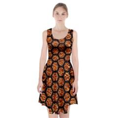 Hexagon2 Black Marble & Copper Foil (r) Racerback Midi Dress
