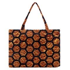 Hexagon2 Black Marble & Copper Foil (r) Zipper Medium Tote Bag