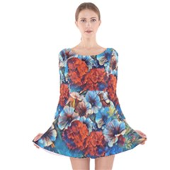 Dreamy Floral 3 Long Sleeve Velvet Skater Dress