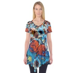 Dreamy Floral 3 Short Sleeve Tunic