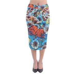 Dreamy Floral 3 Midi Pencil Skirt