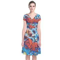 Dreamy Floral 3 Short Sleeve Front Wrap Dress
