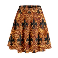 Royal1 Black Marble & Copper Foil High Waist Skirt