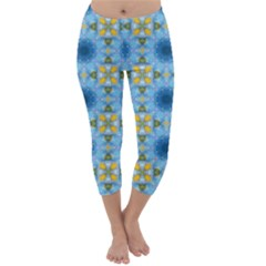 Blue Nice Daisy Flower Ang Yellow Squares Capri Winter Leggings