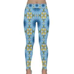 Blue Nice Daisy Flower Ang Yellow Squares Classic Yoga Leggings