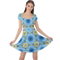 Blue Nice Daisy Flower Ang Yellow Squares Cap Sleeve Dress