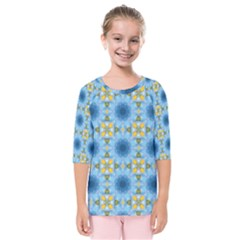 Blue Nice Daisy Flower Ang Yellow Squares Kids  Quarter Sleeve Raglan Tee