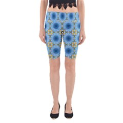 Blue Nice Daisy Flower Ang Yellow Squares Yoga Cropped Leggings