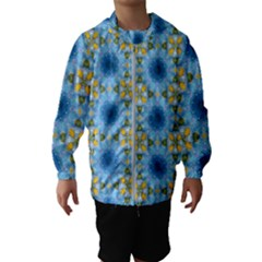 Blue Nice Daisy Flower Ang Yellow Squares Hooded Wind Breaker (kids)
