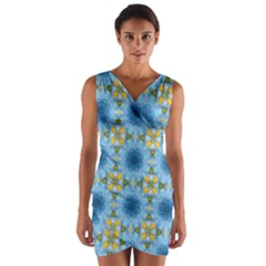 Blue Nice Daisy Flower Ang Yellow Squares Wrap Front Bodycon Dress